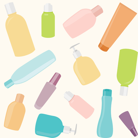 Seamless pattern with different cosmetics bottles Vector