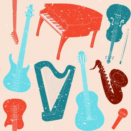 Grunge seamless pattern with musical instruments silhouettes