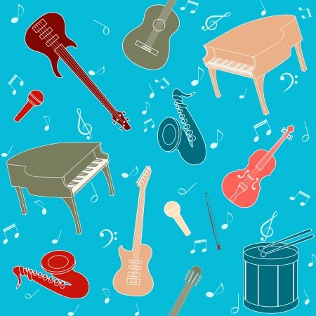 Seamless pattern with musical instruments and note symbols Vector