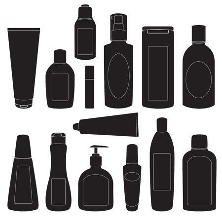 Collection of cosmetic bottles silhouettes isolated on white