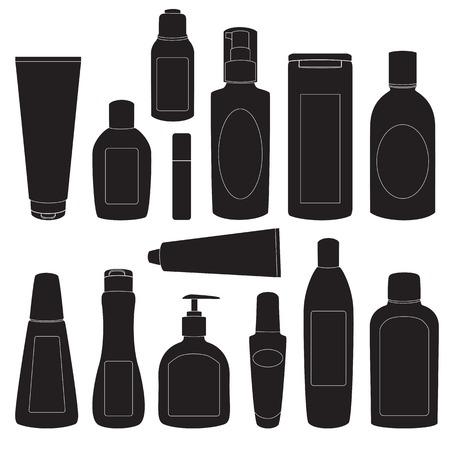 Raccolta di flaconi per la cosmetica sagome isolato su bianco Archivio Fotografico - 25126006