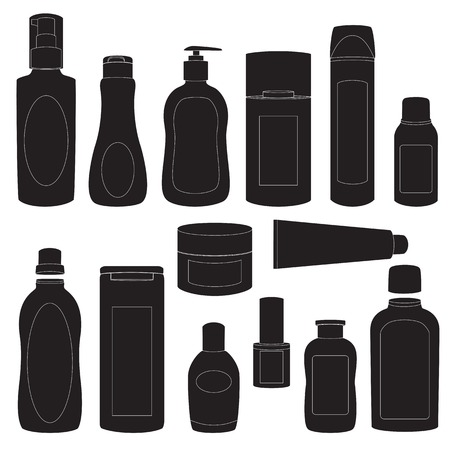 cosmetic products: Collection of cosmetic bottles silhouettes isolated on white