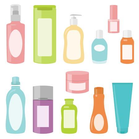 Set 2 of bright cosmetics containers isolated on white  イラスト・ベクター素材
