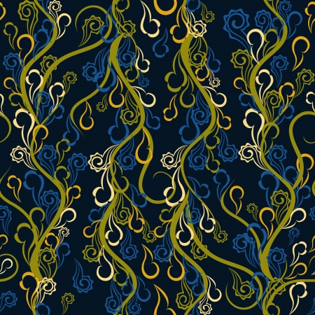Seamless pattern with abstract curly branches