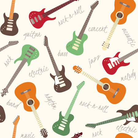 Seamless pattern with colorful guitars and text Vector