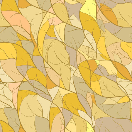Mosaic seamless pattern with branch silhouettes in yellow tones Vector