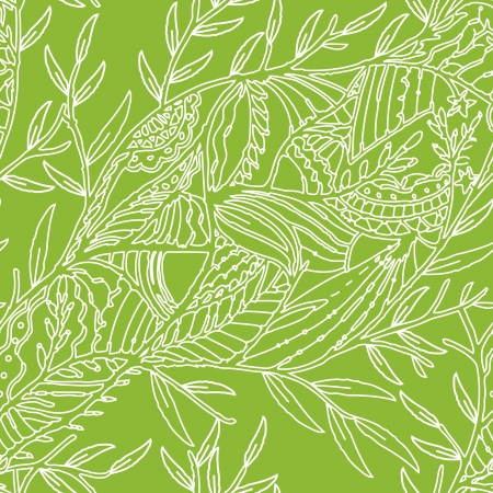 Seamless hand drawn pattern with leaves over green Illustration
