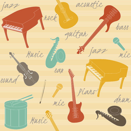 Seamless pattern with musical instruments silhouettes and text Vector