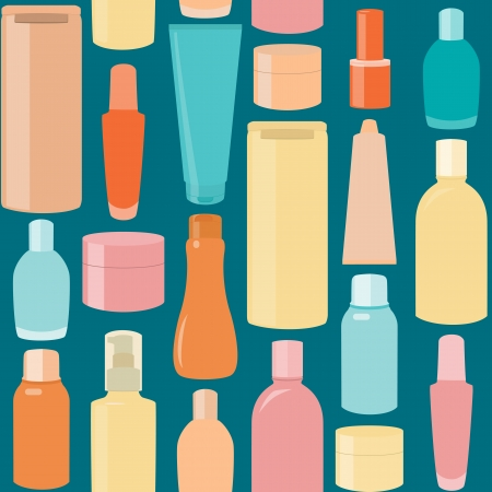 Bright seamless pattern with cosmetic bottles over blue Illustration