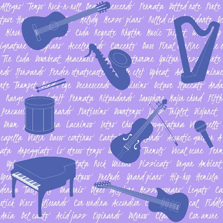 Violet seamless pattern with musical instruments and text Vector