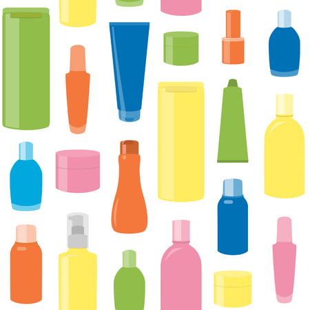 Bright seamless pattern with cosmetic bottles over white Vector