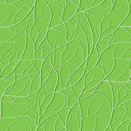Green seamless pattern with interlacing branch silhouettes Illustration