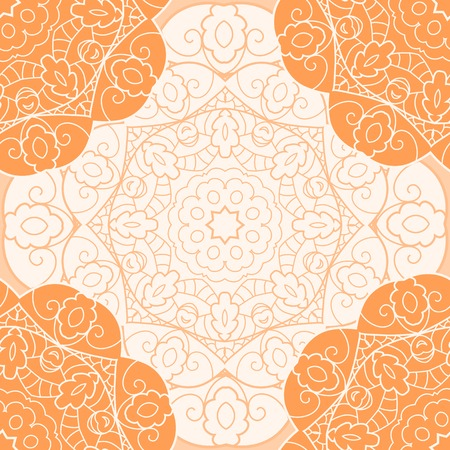 Lace seamless pattern with circle ornament Vector