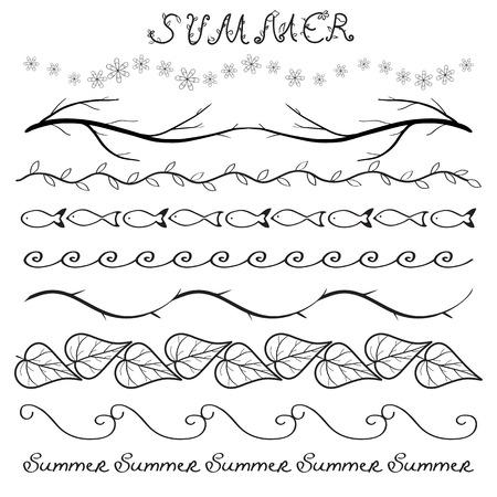 dividing: Summer hand drawn border set isolated on white Illustration
