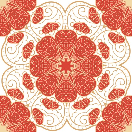 Lace hand drawn seamless pattern with circle ornament Vector