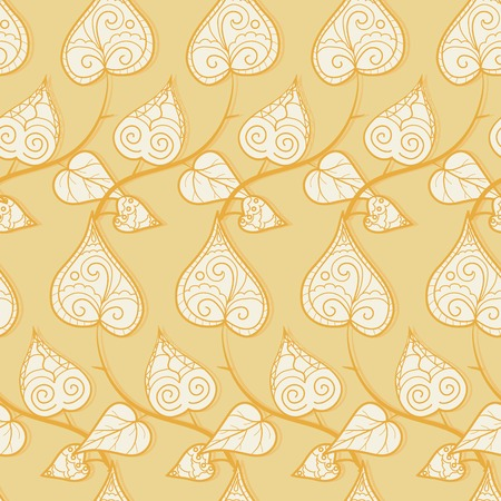 Seamless pattern with curly doodle leaves and branches