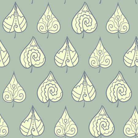Seamless pattern with lacy doodle leaves Vector