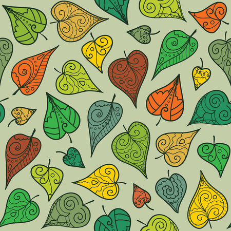 Bright seamless pattern with different doodle leaves
