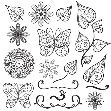 Lacy hand drawn elements set with butterflies, flowers, leaves Vector