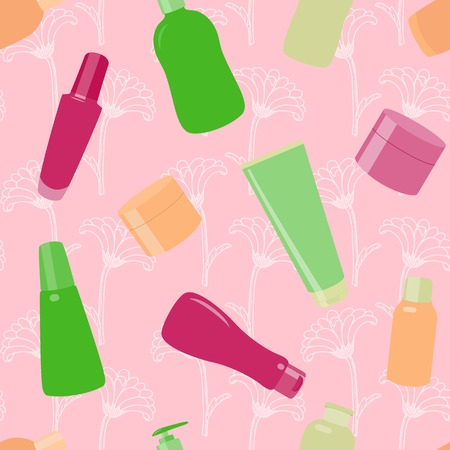 Bright seamless pattern with cosmetic bottles and flowers Vector