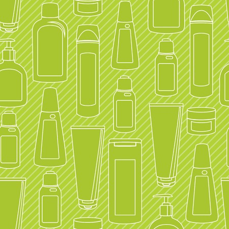 Striped seamless pattern with cosmetic bottles silhouettes Vector