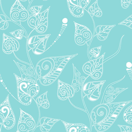 Seamless pattern with doodle curly leaves and branches