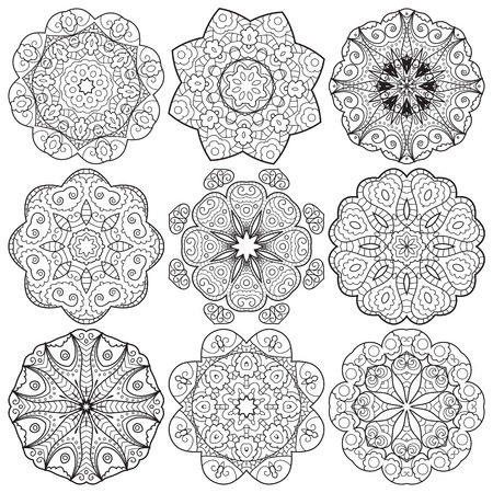 Collection of round lace hand drawn ornaments Illustration