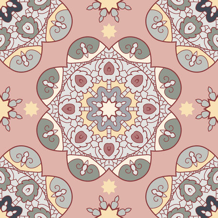 Oriental lace seamless background with circle ornament Vector