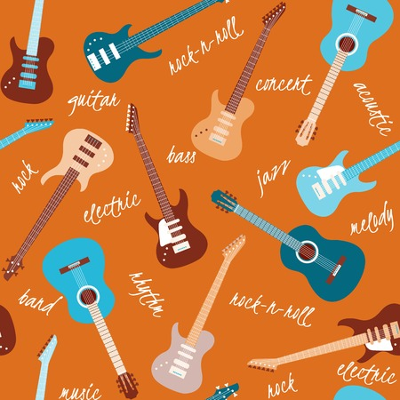 Seamless orange pattern with colorful guitars and text Vector