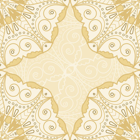Lace seamless hand drawn background with circle ornament Vector