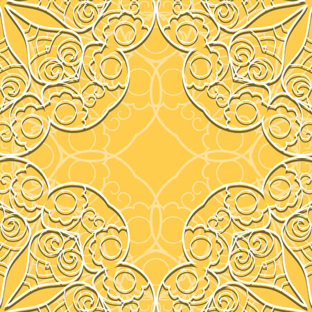 Yellow lace seamless hand drawn background with circle ornament Vector