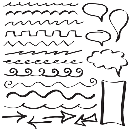Set of hand drawn border lines and frames Vector