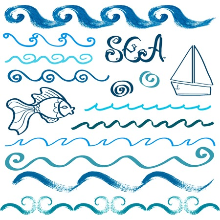 Set of hand drawn sea waves and design elements