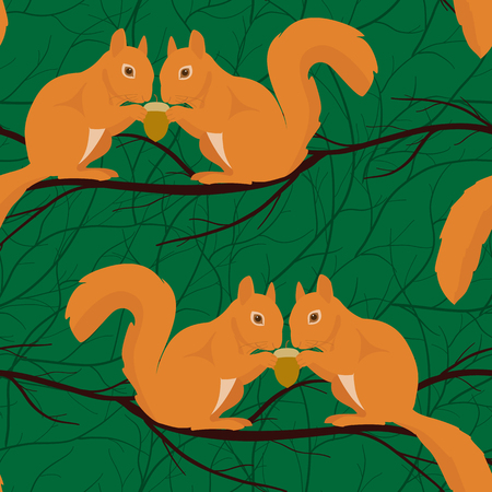 Seamless pattern with squirrel pairs sitting on the branch Illustration