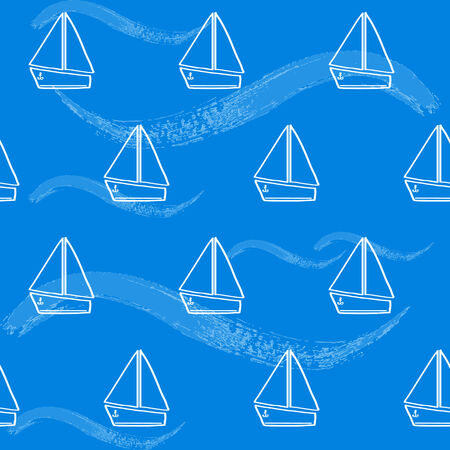 Seamless background with hand drawn boats and waves Illustration