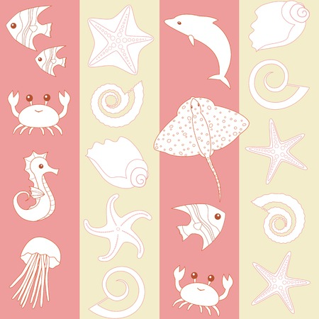 pink dolphin: Seamless striped pattern with sea animals silhouettes