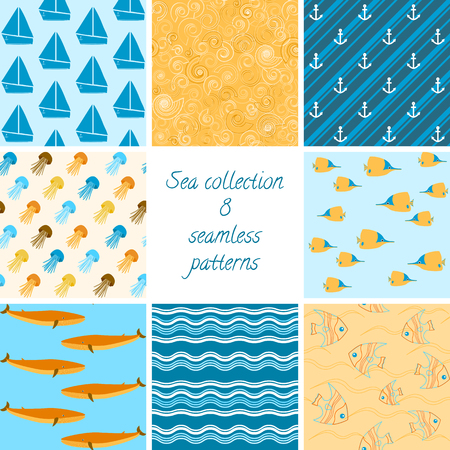 Colorful collection of 8 marine seamless patterns Vector