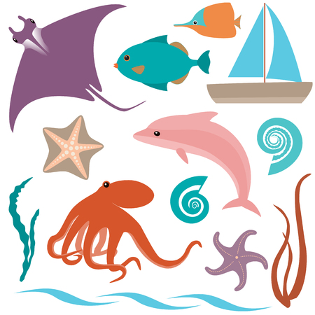 Collection of sea animals isolated on white Vector