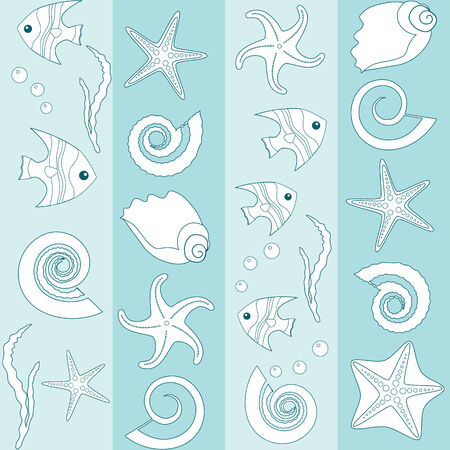 Seamless striped pattern with sea animals silhouettes