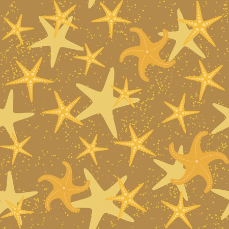 Seamless pattern with golden sea stars over brown