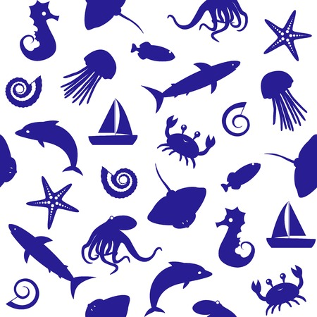 Seamless background with small sea animals silhouettes 일러스트