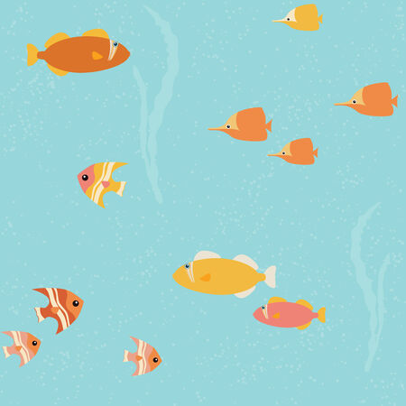 Seamless background with small bright fish over blue Illustration