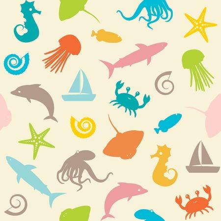 Seamless avec des petits animaux de mer silhouettes Vecteurs