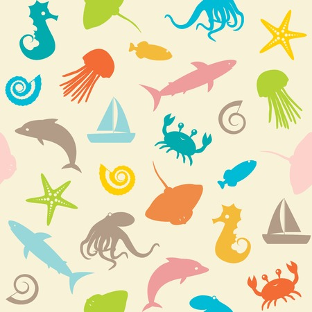 Seamless background with small sea animals silhouettes Çizim