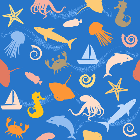 sea animals: Seamless background with small sea animals silhouettes Illustration
