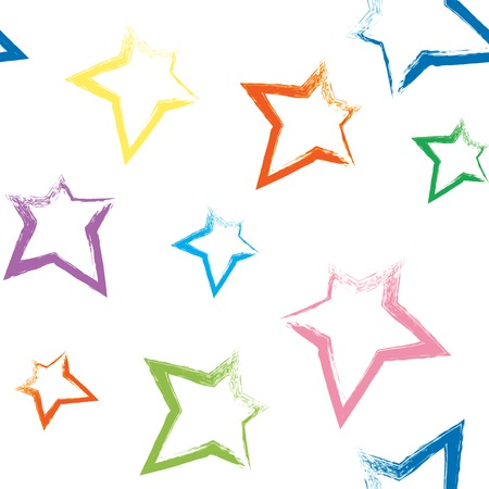 Seamless pattern with colorful brush painted stars Vector