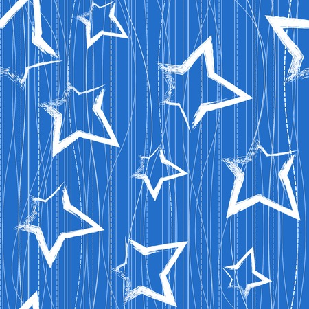 Seamless pattern with brush painted stars over blue