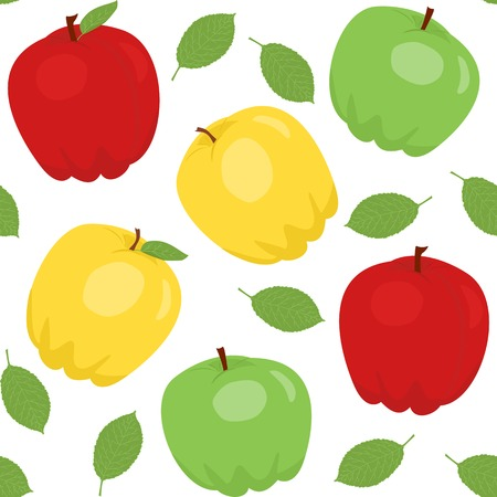 greengrocery: Seamless pattern with cartoon apples