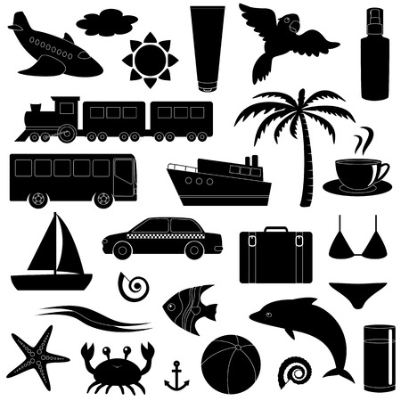 seastar: Travel and vacation silhouette icon set