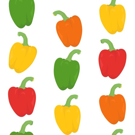 Seamless pattern with colorful peppers over white Vector
